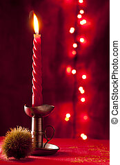 Christmas Candle with Chestnut Bur