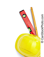 construction helmet protective workwear ruler level