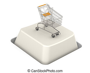 Button with Shopping Cart. Steel Trolley.