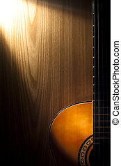 Classical Guitar Detail on Wood
