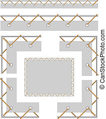 Seamless border and corners to create a banner with grommet,...