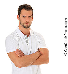 Serious looking man. All on white background.