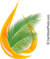 Palm oil. Stylized drop of oil and palm leaves. Vector...