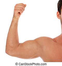 Muscle - Heavily muscled upper arm of a man. All on white...