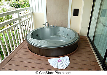 Outdoor jacuzzi at the luxury hotel, Phuket, Thailand