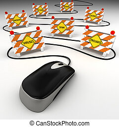 Internet security threats - Computer mouse with internet...