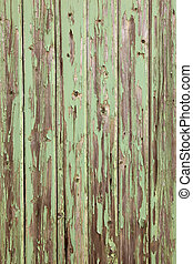 Old wooden door with peeling paint - Green paint peeling off...