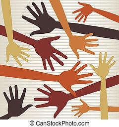 Random hands vector. - Random hands vector pattern.