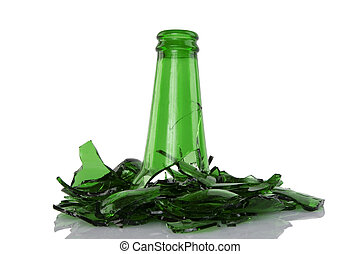 broken green bottle - close up of broken green bottle on...