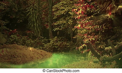 Enchanted forest loop - colorful forest with glowing water,...