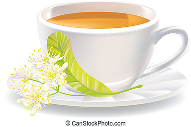 Linden flowers and a cup of tea. Vector illustration.