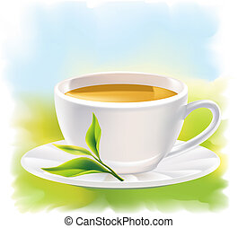 Cup of tea and a natural green leaf. Background - sunny...