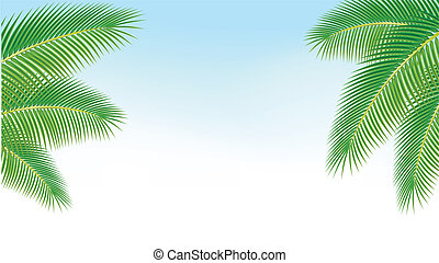 Palm branches against the blue sky.