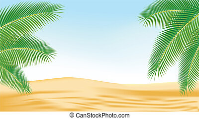 Branches of palm trees against the backdrop of the desert.