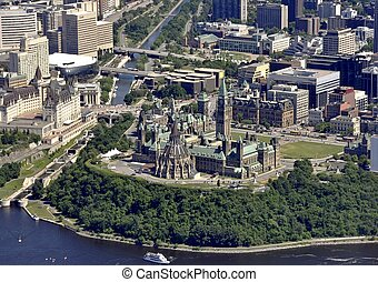 Ottawa aerial - aerial view of the Parliament buildings in...