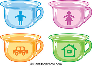 Bright kids potty with silhouettes of boy, girl, car, house.