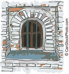 Window with bars in the old jail. Vector sketch.