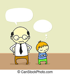 Father and son - Cartoon of a father arguing with his...