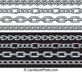 Silver chain Seamless Borders vector set