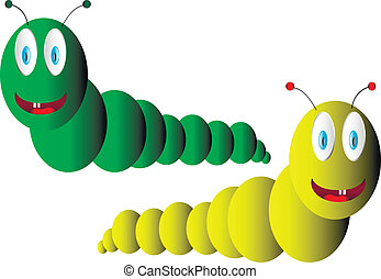 Two caterpillar on white background - vector