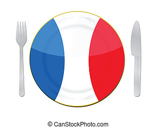 french food illustration concept design over white