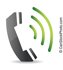 ringing phone illustration design over a white background