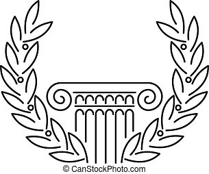 Antique Greek Column and Laurel. Vector illustration.