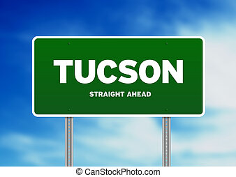 Tucson, Arizona Highway Sign - Green Tucson, Arizona, USA...