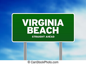 Virginia Beach Highway Sign - Green Virginia Beach,...