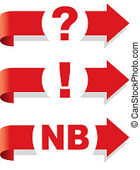 Question, exclamation and Nota Bene symbol Arrow