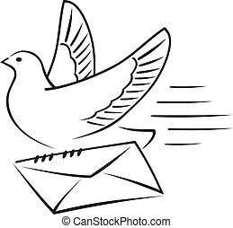 Carrier-pigeon with letter - Carrier-pigeon gives an...