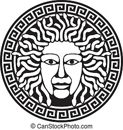 Illustration of Medusa Gorgon head with snake hair. Round...