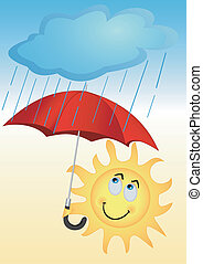 The sun under an umbrella - Illustration of the sun with a...