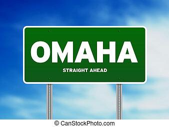 Omaha, Nebraska Highway Sign - Green Omaha, Nebraska, USA...