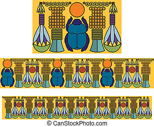 Egyptian ornament with a scarab Antique pattern