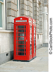 British telephone booths - red British telephone booths on...