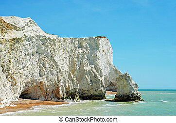 chalk cliffs seaford england with blue sky