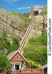 east hill lift hastings england with blue sky
