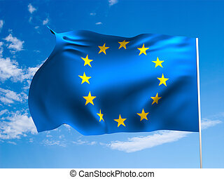 Flag of European Union waving in the wind against a blue sky...