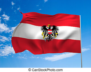 Flag of the Republic of Austria waving in the wind against a...