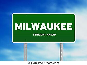 Milwaukee, Wisconsin Highway Sign - Green Milwaukee,...