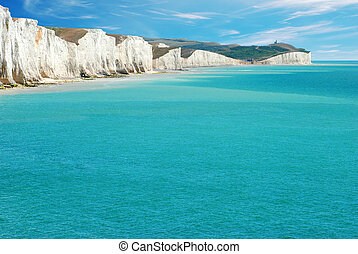 Seven Sisters East Sussex England with blue ocean and sky