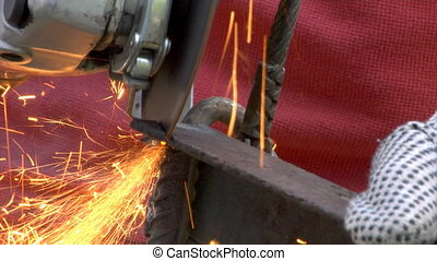metal grinding - close-up of metal grinding work