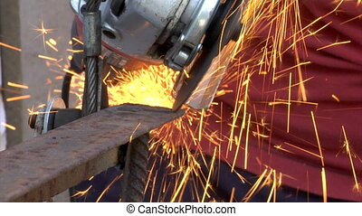 metal grinding - close-up cutting and grinding metal work