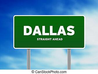 Dallas, Texas Highway Sign - Green Dallas, Texas, USA...