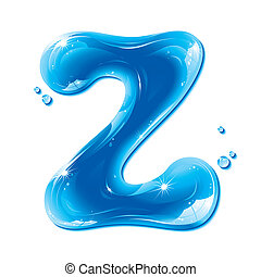 Water Liquid Letter - Capital Z - Liquid Alphabet Gel Series...