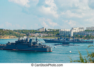 Russian warships and submarine