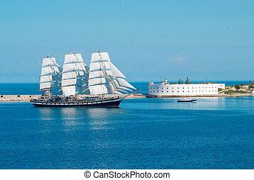 Entrar, navio, baía, velejando