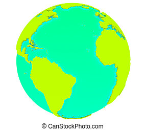 Earth isolated with white background - 3D model of Earth...