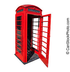 Old red telephone box in London - Old red phone booth with...